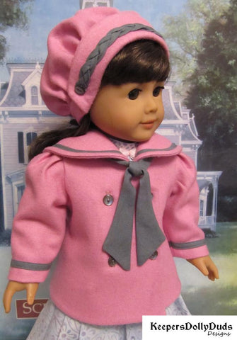 "Keepers Dolly Duds Designs 18 Inch Historical 1915 Reefer Jacket and Hat 18"" Doll Clothes Pattern Pixie Faire"
