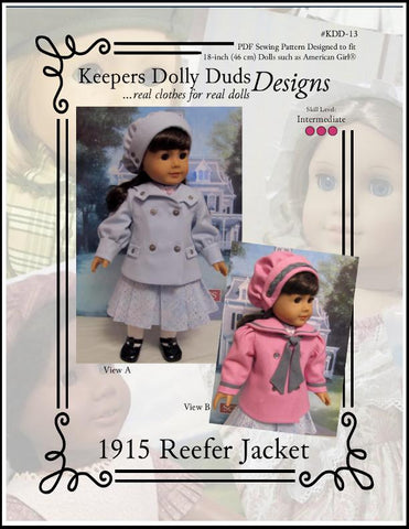Keepers Dolly Duds 1915 Reefer Jacket pdf doll clothes sewing pattern designed to fit 18 inch American Girl dolls