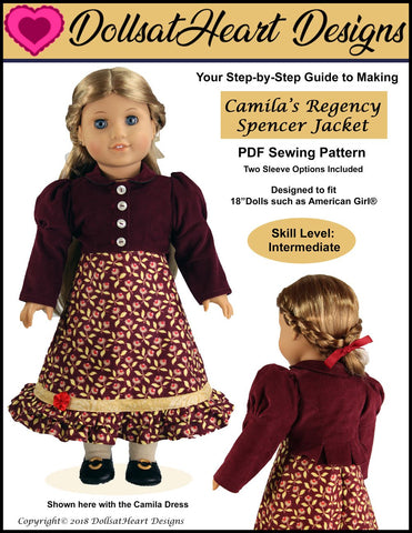 PDF doll clothes sewing pattern Dolls at  Heart Designs Camila's Regency Spencer Jacket designed to fit 18 inch American Girl dolls
