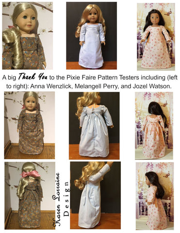 Karen Lorraine Design pdf doll clothes sewing pattern Regency Style designed to fit 18 inch American Girl dolls