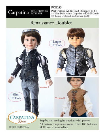 "Carpatina Dolls 18 Inch Boy Doll Renaissance Doublet Multi-sized Pattern for Regular and Slim 18"" Boy Dolls Pixie Faire"