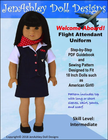"Jen Ashley Doll Designs 18 Inch Modern Welcome Aboard! Flight Attendant Uniform 18"" Doll Clothes Pattern Pixie Faire"