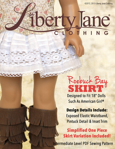 "Liberty Jane 18 Inch Modern Roebuck Bay Skirt 18"" Doll Clothes Pattern Pixie Faire"