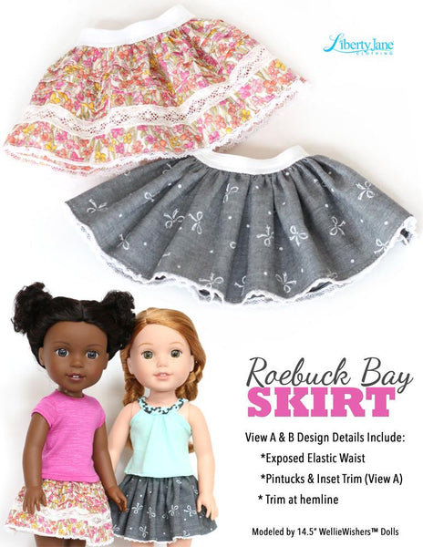 Liberty Jane Roebuck Bay Skirt Doll Clothes Pattern For 14