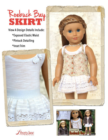 "Roebuck Bay Skirt 18"" Doll Clothes Pattern"