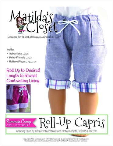 "Matilda's Closet 18 Inch Modern Summer Camp Collection: Roll-Up Capris 18"" Doll Clothes Pixie Faire"