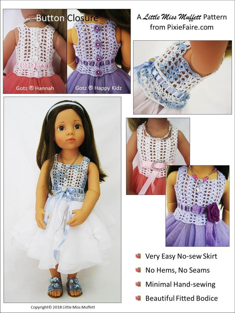 Little Miss Muffet Romantic Fusion Sewing & Crochet Pattern for 19 ...