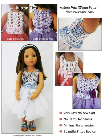 "Romantic Fusion Sewing & Crochet Pattern for 19"" Gotz Dolls"