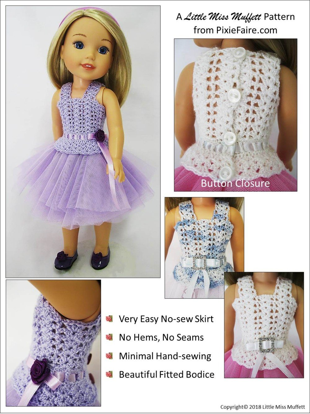 Little Miss Muffett Romantic Fusion Doll Clothes Crochet Pattern ...