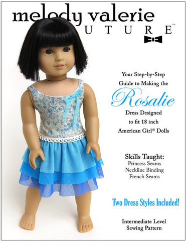 "Rosalie Dress 18"" Doll Clothes Pattern"