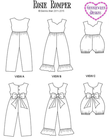 "Rosie Romper 18"" Doll Clothes Pattern"
