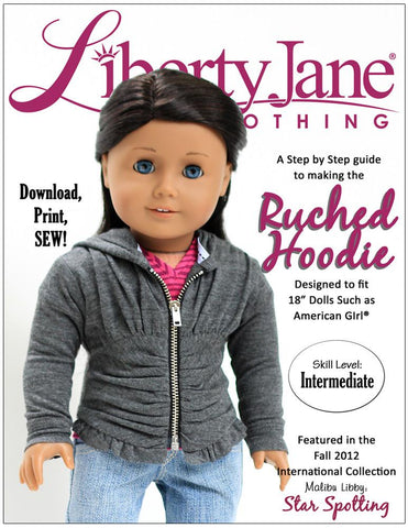 "Liberty Jane 18 Inch Modern Ruched Hoodie 18"" Doll Clothes Pattern Pixie Faire"