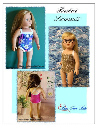 "Ruched Swimsuit 18"" Doll Clothes Pattern"