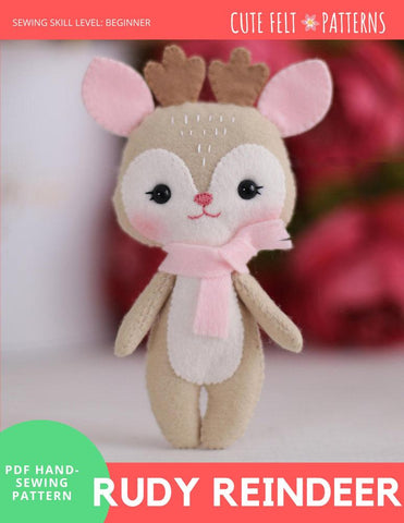 "Rudy Reindeer 6.5"" Felt Plush Hand Sewing Pattern"