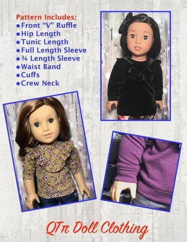 PDF doll clothes sewing pattern QTπ Doll Clothing Ruffle V Top designed to fit 18 inch American Girl dolls
