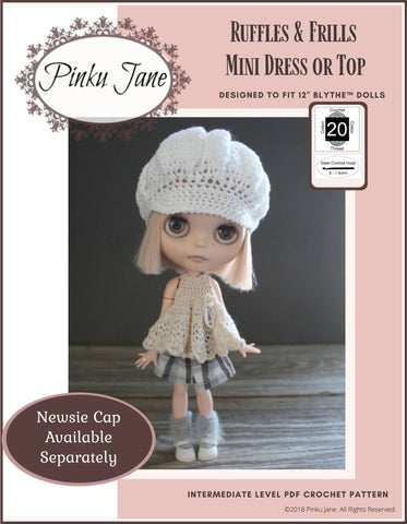 "Ruffles and Frills Mini Dress or Top Crochet Pattern For 12"" Blythe Dolls"