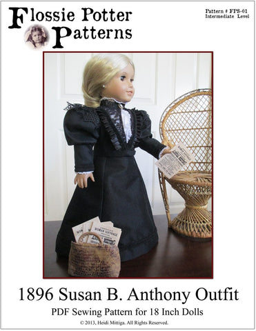"Flossie Potter 18 Inch Historical 1896 Susan B. Anthony Outfit 18"" Doll Clothes Pattern Pixie Faire"