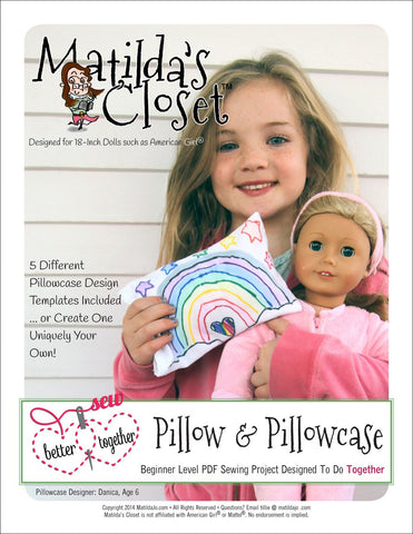"Sew Better Together Pillow & Pillowcase 18"" Doll Accessories"