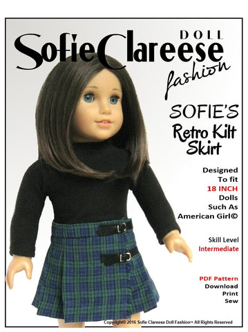 "Sofie's Retro Kilt Skirt 18"" Doll Clothes"
