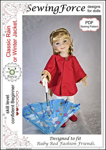 Classic Rain or Winter Jacket Doll Clothes Pattern for Ruby Red Fashion Friends™