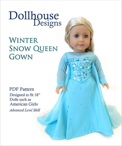 "Winter Snow Queen Gown 18"" Doll Clothes Pattern"