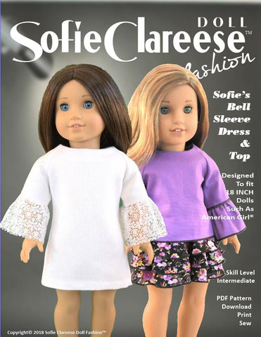 pdf doll clothes sewing pattern Sofie Clareese Bell Sleeve Top and Dress designed to fit 18 inch American Girl dolls
