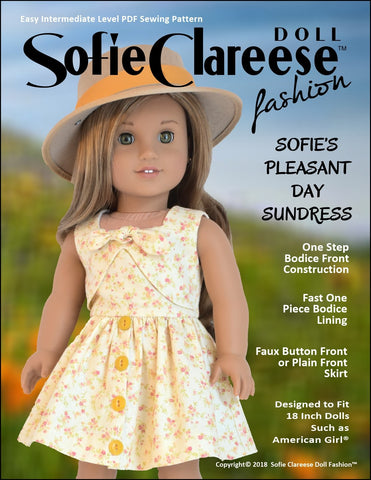 "Sofie's Pleasant Day Sundress 18"" Doll Clothes Pattern"