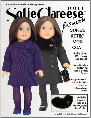 pdf doll clothes sewing pattern sofie Clareese Fashion Sofie's Retro Mod Coat designed to fit 18 inch American Girl dolls