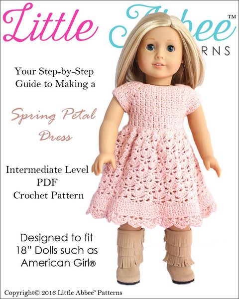 Little Abbee Spring Petal Dress Doll Clothes Pattern 40 Inch Delectable American Girl Patterns