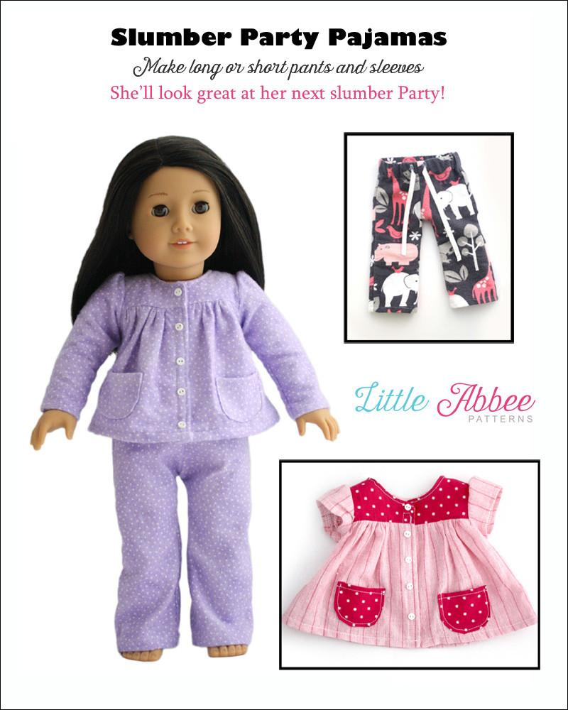 Little Abbee Slumber Party Pajamas Doll Clothes Pattern 18 inch ...