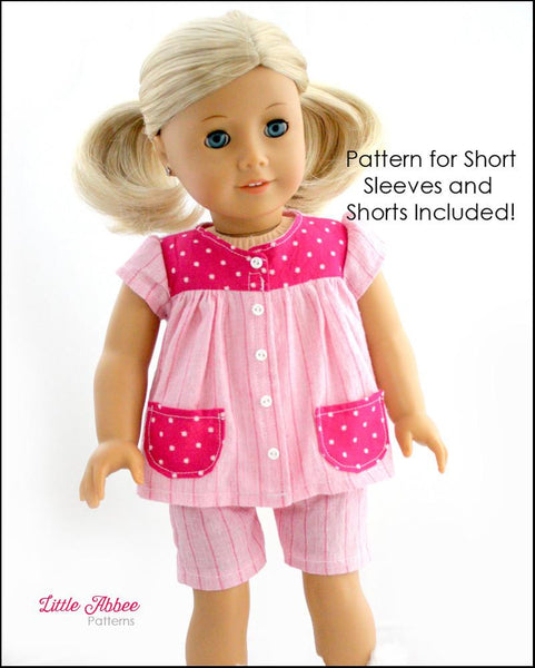Little Abbee Slumber Party Pajamas Doll Clothes Pattern 18