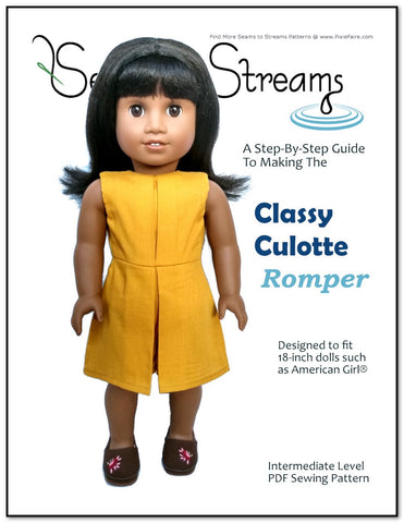 "Classy Culotte Romper 18"" Doll Clothes Pattern"