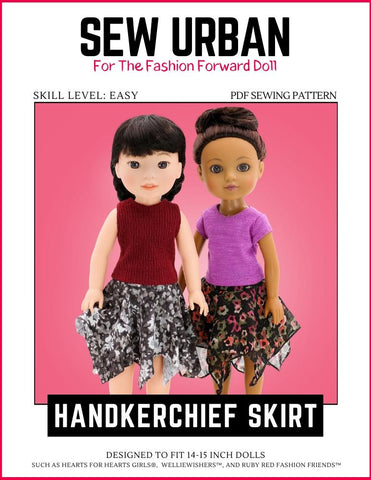 "Sew Urban WellieWishers Handkerchief Skirt 14-15"" Doll Clothes Pixie Faire"