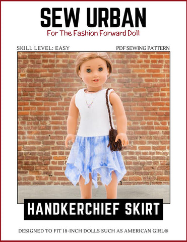 "Sew Urban 18 Inch Modern Handkerchief Skirt 18"" Doll Clothes Pixie Faire"