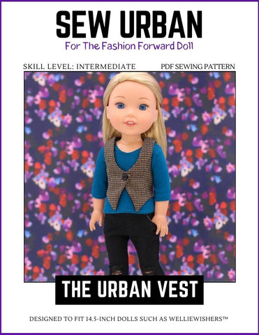 "Sew Urban WellieWishers Urban Vest 14.5"" Doll Clothes Pattern Pixie Faire"
