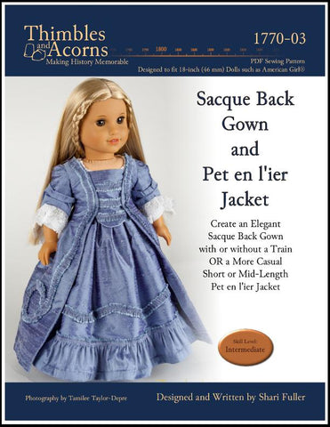 pdf doll clothes sewing pattern Sacque Back Gown and Pet en l'ier  designed to fit 18 inch American Girl dolls
