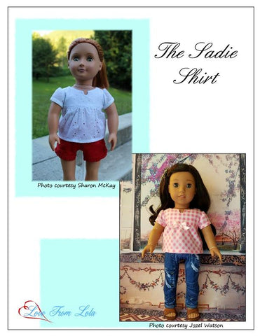 "The Sadie Shirt 18"" Doll Clothes Pattern"