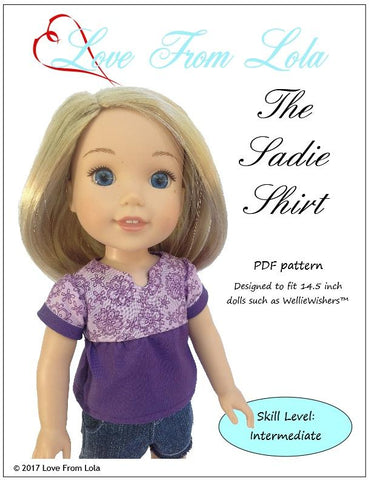 "The Sadie Shirt 14.5"" Doll Clothes Pattern"