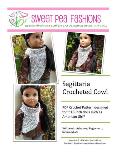 "Sagittaria Crocheted Cowl 18"" Doll Clothes"