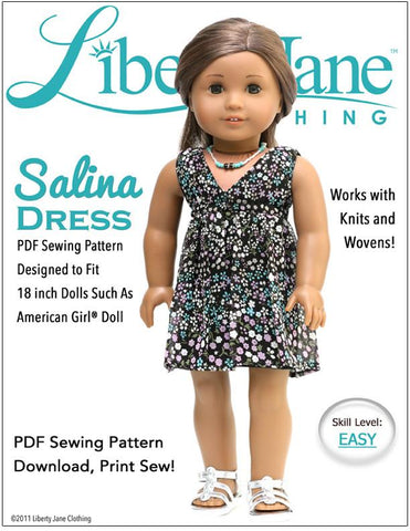 "Salina Dress 18"" Doll Clothes Pattern"