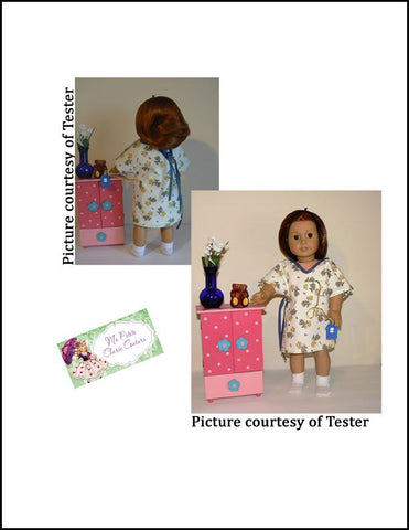 "Medical Gown 18"" Doll Clothes Pattern"