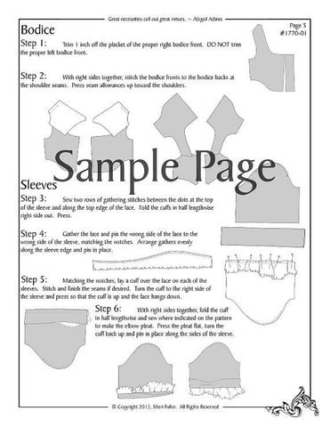 "1850's Day Dress 18"" Doll Clothes Pattern"