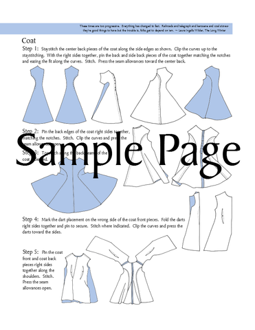 "Regimental Cloak 18"" Doll Clothes Pattern"