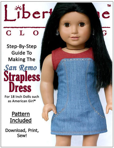"San Remo Dress 18"" Doll Clothes Pattern"