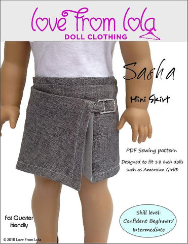 Love From Lola Sasha Mini Skirt PDF doll clothes sewing pattern designed to fit 18 inch American Girl dolls