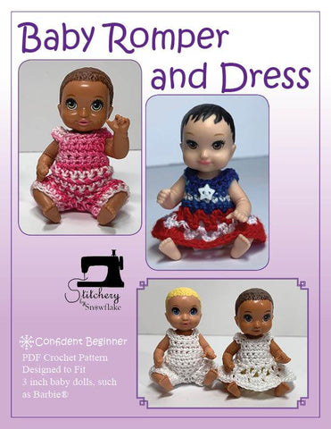 "Baby Romper and Dress 3"" Doll Clothes Crochet Pattern"