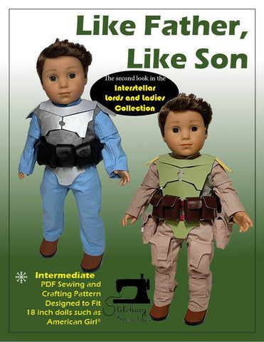 "Like Father, Like Son 18"" Doll Clothes Pattern"