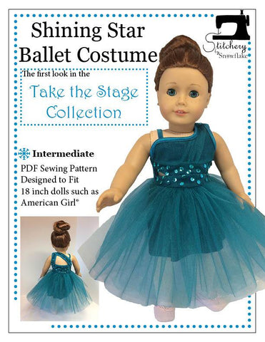 "Stitchery By Snowflake 18 Inch Modern Shining Star Ballet Costume 18"" Doll Clothes Pattern Pixie Faire"