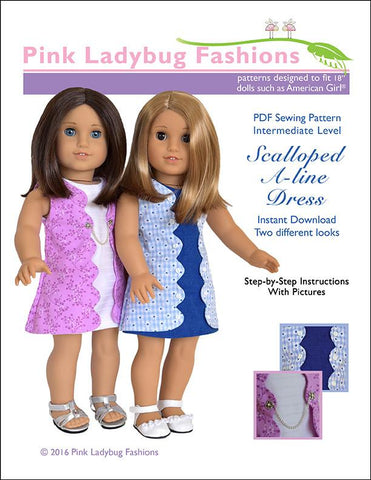 "Pink Ladybug 18 Inch Modern Scalloped A-line Dress 18"" Doll Clothes Pattern Pixie Faire"