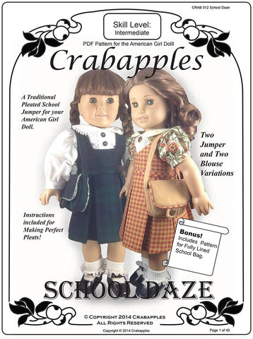 "School Daze Jumper and Blouse 18"" Doll Clothes Pattern"
